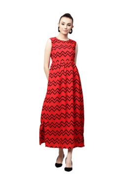 Gerua Red Printed Flared Maxi Dress