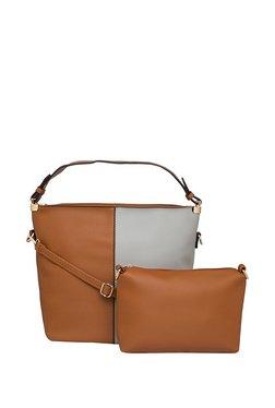 Globus Tan & Light Grey Color Block Baguette Shoulder Bag With Pouch