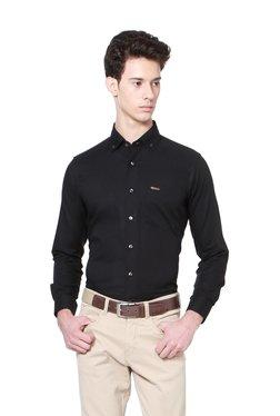 People Black Slim Fit Button Down Collar Shirt