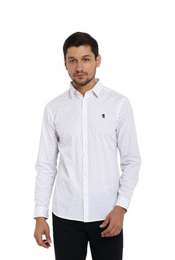 816556e15 Red Tape White Regular Fit Printed Shirt