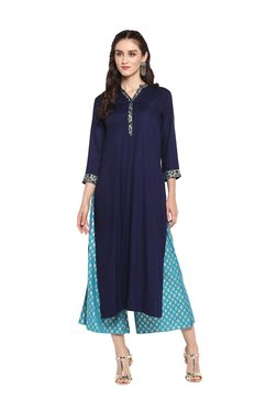 Varanga Blue Viscose Rayon Straight Kurta With Palazzo