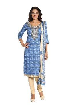 Soch Blue & Beige Printed Cotton Suit Set