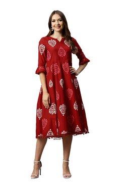 Juniper Maroon Cotton Printed Below Knee Flared Dress