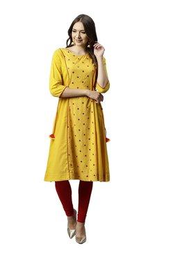Juniper Yellow Embroidered Cotton Paneled A-Line Kurta