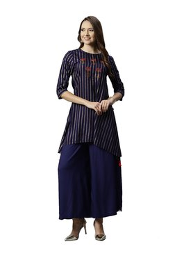 Juniper Navy Embroidered Rayon Asymmetric Kurti