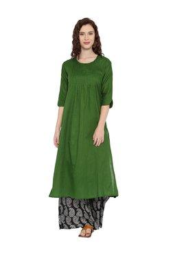 16de0f37f Desi Weavess Green Textured Cotton A-Line Kurta