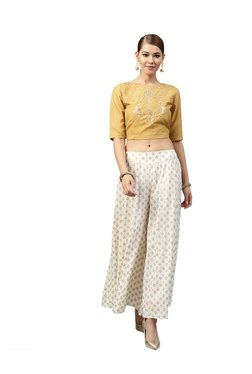 Juniper Gold & Off White Crop Top With Palazzo