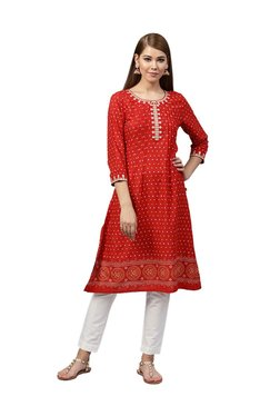 Juniper Red & White Printed A-Line Kurta With Pants
