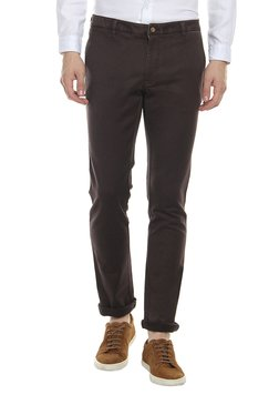 Blackberrys Brown Slim Fit Mid Rise Solid Trousers