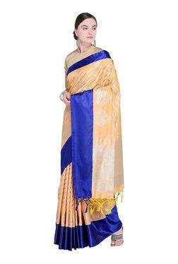 Varkala Silk Sarees Peach & Navy Stripes Saree With Blouse