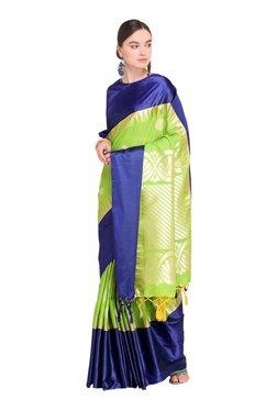 Varkala Silk Sarees Green & Navy Printed Saree With Blouse - Mp000000003889214