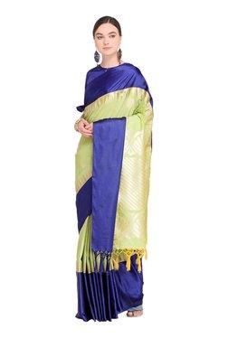 Varkala Silk Sarees Green & Navy Printed Saree With Blouse