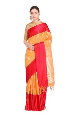 Varkala Silk Sarees Orange & Red Printed Saree With Blouse