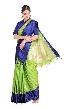 Varkala Silk Sarees Green & Navy Printed Saree With Blouse - Mp000000003889267