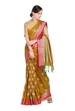 ef20d9bc2dc382 Varkala Silk Sarees Brown Woven Saree With Blouse