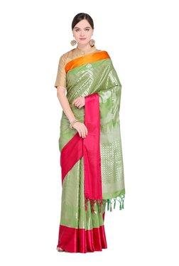 Varkala Silk Sarees Green & Pink Printed Saree With Blouse