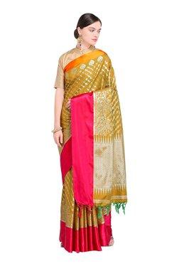 Varkala Silk Sarees Brown & Pink Printed Saree With Blouse