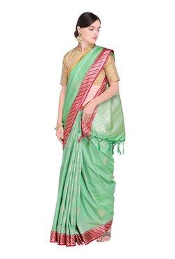 Varkala Silk Sarees Turquoise Printed Saree With Blouse