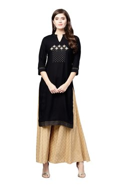 Juniper Black & Beige Embroidered Long Kurta With Flared Palazzo