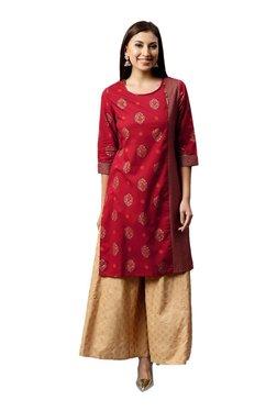 Juniper Red & Beige Printed Cotton Kurta With Flared Palazzo