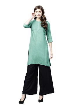 Juniper Teal & Black Embroidered Kurta With Flared Palazzo