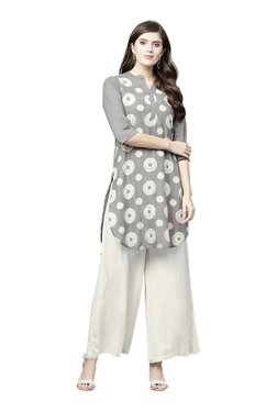 Juniper Grey & Off White Printed High Low Cotton Kurta With Flared Palazzo