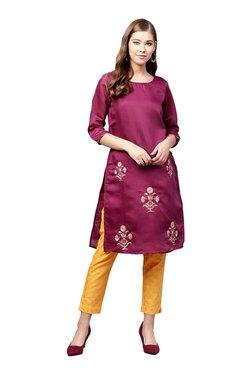 Juniper Purple & Yellow Embroidered Straight Kurta With Pants