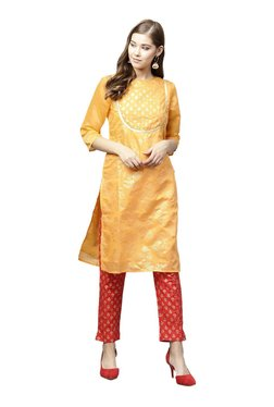 Juniper Mustard & Red Printed Straight Kurta With Pants