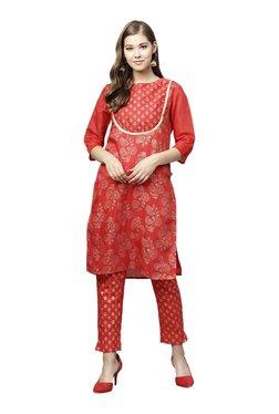 Juniper Red Printed Straight Kurta With Pants