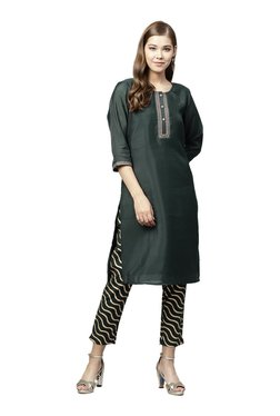 Juniper Green Embroidered Straight Kurta With Pants
