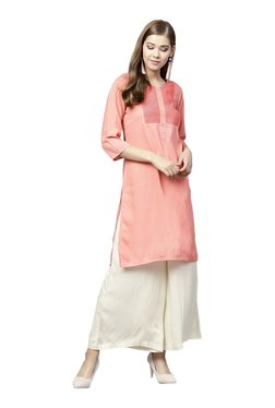 Juniper Coral & Off White Embroidered Kurta With Flared Palazzo