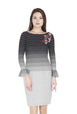 109 F Black Striped Above Knee Dress