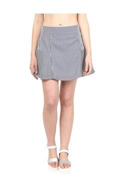109 F White Striped A-Line Skirt