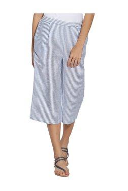 109 F Blue Cotton Striped Culottes