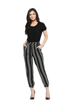 109 F Black Striped Jumpsuit