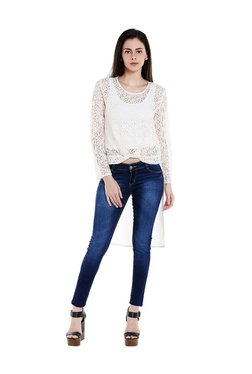 Fusion Beats Off-White Lace Pattern Top