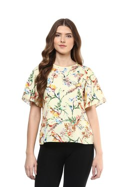 109 F Yellow Floral Print Top