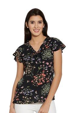 109 F Black Floral Print V-neck Top