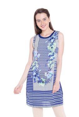 109 F Blue Floral Print Top