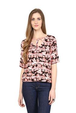 109 F Pink Floral Print V-neck Top