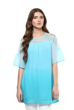 109 F Turquoise Lace Pattern Top