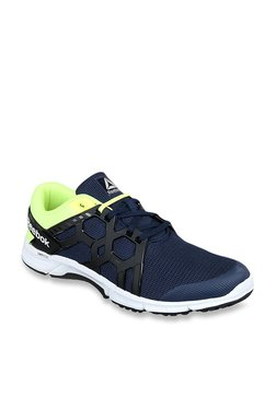 1e4be5666bb2c Reebok Gusto Run LP Navy   Neon Yellow Running Shoes