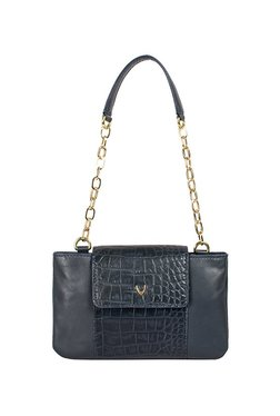 Hidesign Aquarius 01 Navy Textured Leather Shoulder Bag