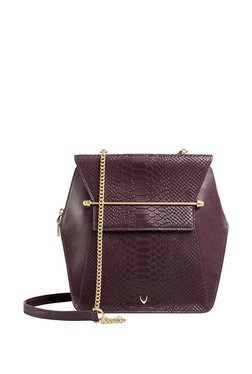 a8dc014994d Hidesign Delilah 02 Dark Purple Textured Leather Sling Bag