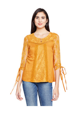 Oxolloxo Yellow Lace Regular Fit Top