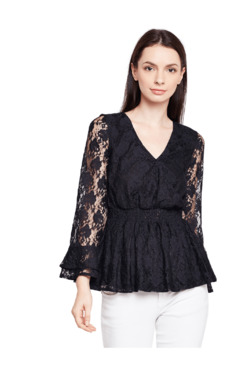 Oxolloxo Black Lace Regular Fit Top
