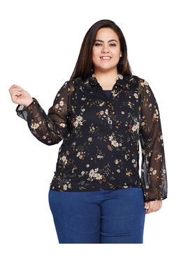 Oxolloxo Curves Black Printed Regular Fit Top - Mp000000003898670