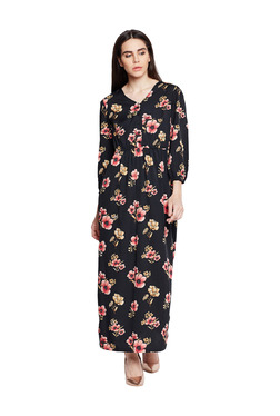 Oxolloxo Black Floral Print Maxi Dress