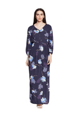 Oxolloxo Purple Floral Print Maxi Dress