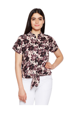 Oxolloxo Beige Floral Print Shirt